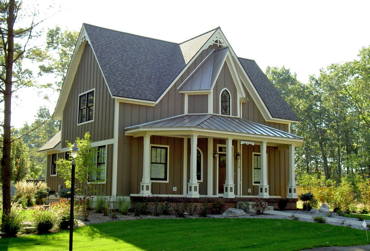 Country style 2 storey residence of 2,800 sq. ft. with Gothic detailing.