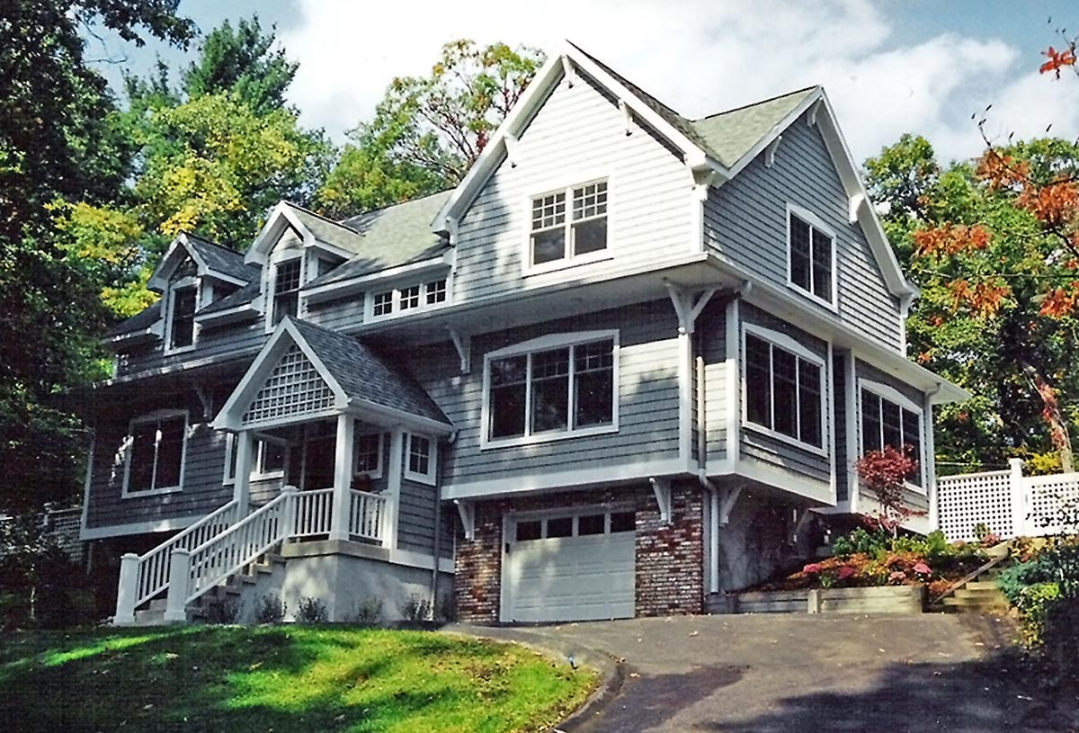 Craftsman style 3 storey home of 3,900 sq. ft. with pool and pool house.