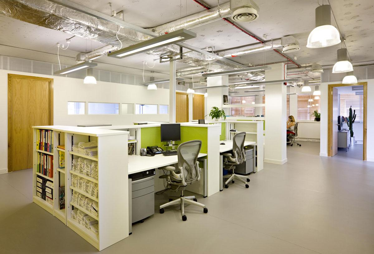 Creative media agency – industrial style open office work area.